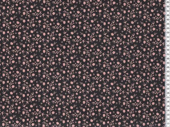 Feincord Blumen schwarz/braun