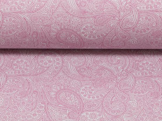 Baumwollstoff Paisleys grau/rosa