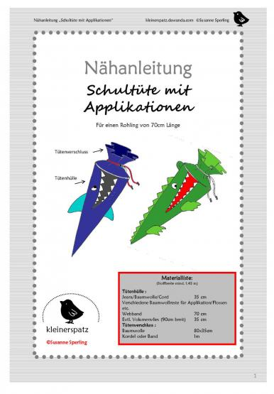 Schultüte m. Applikation  Gr. 70 + 30cm