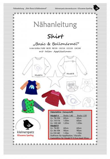 Shirt Basic/Ballon Gr. 74/80 - 134/140