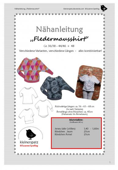 Shirt Fledermaus Gr. 36/38 - 44/46 (48)