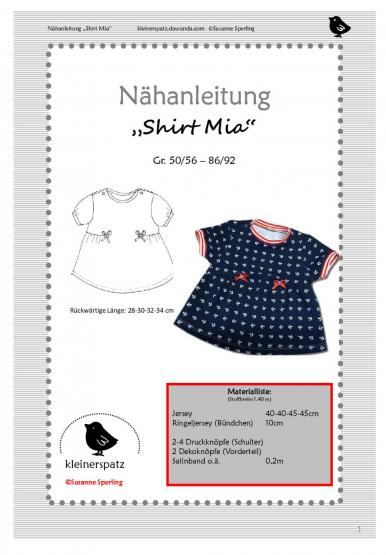 Shirt Mia Gr. 50/56 - 86/92
