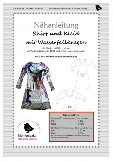 Shirt/Kleid Wasserfall 38/40 - 44/46