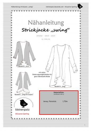 Strickjacke Swing Gr. S - XL