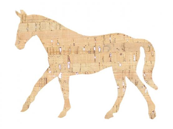Applikation Pferd Kork Silber