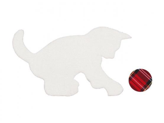 Applikation Katze weiss m. Ball