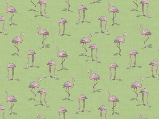 Fern Garden Flamingo green
