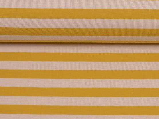 Isa Jersey Streifen creme/senf
