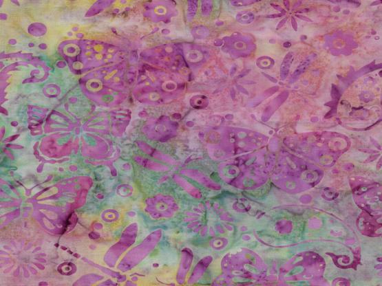 Batik Payslis Schmetterlinge pink
