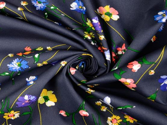 Baumwoll-Elastik-Satin Blumen blau