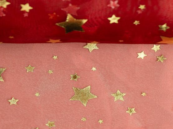Organza Sterne rot